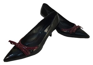 Prada Black Bow Red Patent Leather Pumps