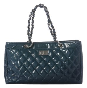 Chanel Ch.j0406.14 Quilted Ruthenium Tote in Blue