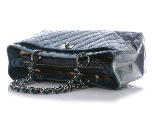 Chanel Shopper Ch.j0406.14 Quilted Ruthenium Tote in Blue