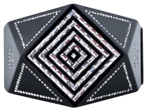 Chanel Chanel Crystal Black Resin Cuff Bracelet With Dust Bag