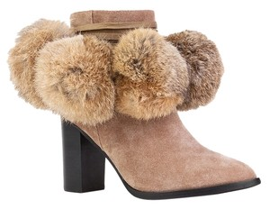 Yes Leather Fur Chunky Heel Boot Brown Boots
