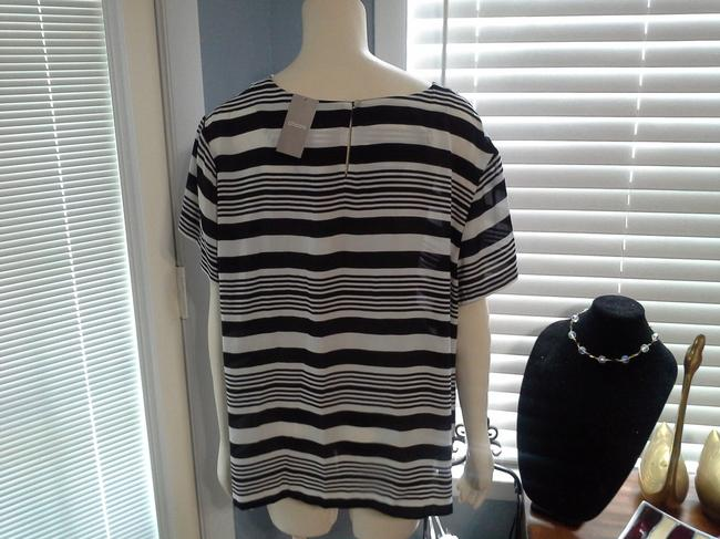 Chico's Top Navy Blue and White