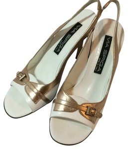Via Spiga White/Gold Pumps