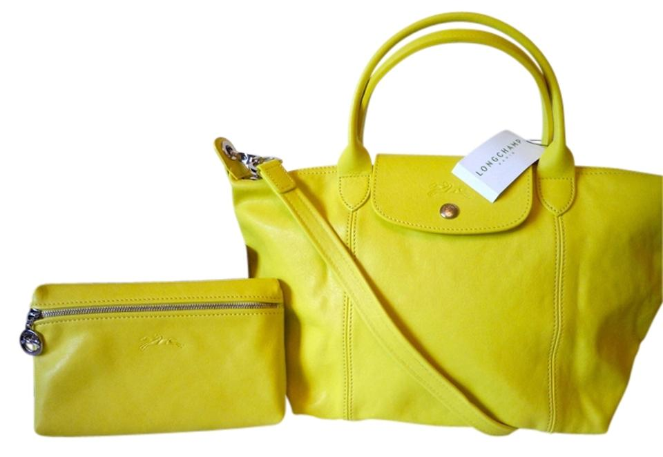 164bdfb54345 Longchamp Le Pliage Cuir Small Handbag and Clutch Made In France Lambskin  Yellow Leather Cross Body Bag