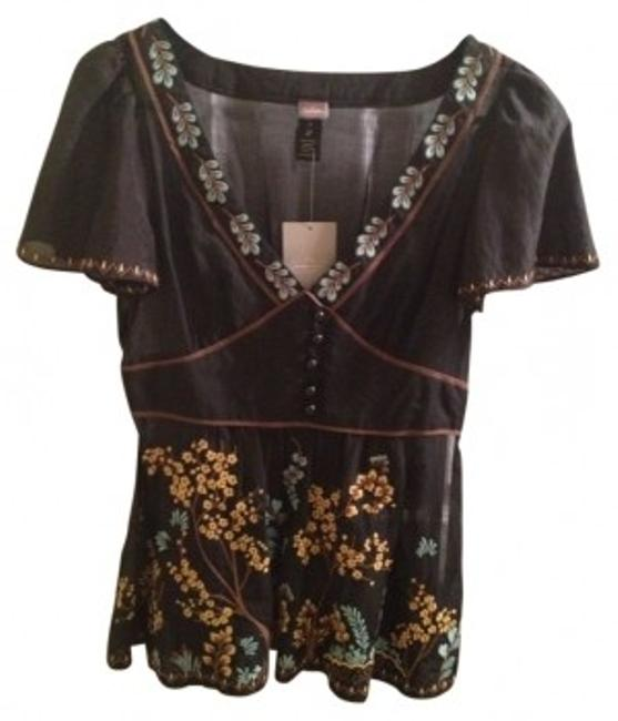 Anthropologie Print Top Black