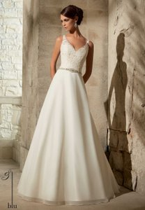 Mori Lee Ivory Chiffon 5308 Vintage Wedding Dress Size 12 (L)