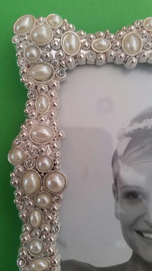 Pearls And Crystal Silver Plated Wedding Frame