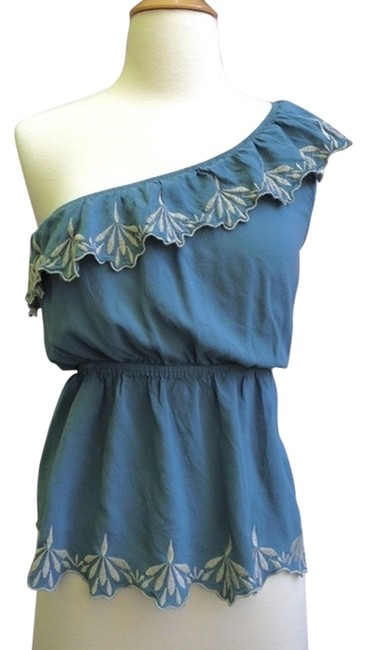 Only Mine Scalloped One Embroidered Top Blue/Ivory