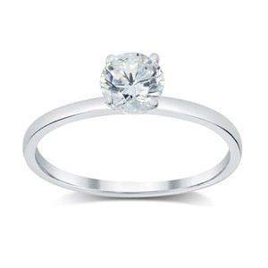 0.73 Ct E/si2 Round Diamond Solitaire Engagement Ring 14 K White Gold