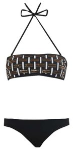 Fendi NEWBikini Swimwear Sequin Embellished Bandeau Size S 4 Black Gold