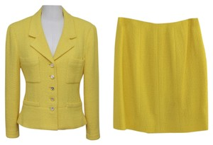 Chanel Chanel 2pc Wool Yellow Blazer and Skirt