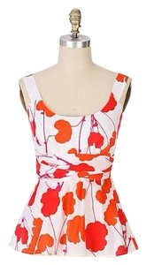 Anthropologie Marimekko Akebana Blouse Color Ginkgo Persimmon Crimson Sash Bow Style 813010 Top Multi