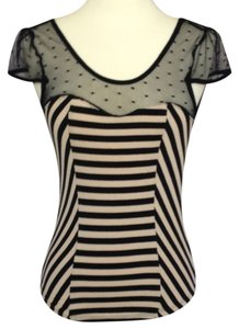 Sweetheart Polka Dot Lace Top Black/Tan Striped
