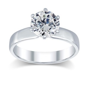 3.02 Ct F/si2 Round Diamond Solitaire Engagement Ring 14 K White Gold