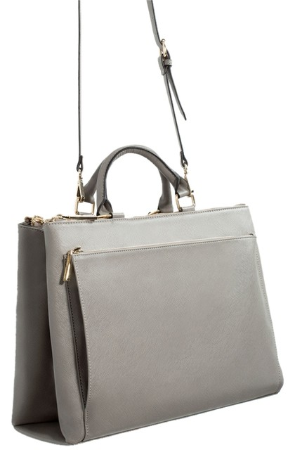 Item - Office City with Pocket Taupe/Gray Outer Shell: Polyurethane. Lining. Polyester. Satchel