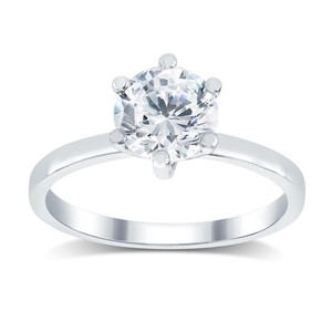 1.81 Ct K/i1 Round Diamond Solitaire Engagement Ring 14 K White Gold