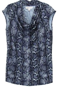 Michael by Michael Kors Designer Pullover Cowl Neck Snake Top Black Grey White Python Pattern