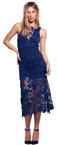 Nightcap For Free People Carribean Crochet Sapphire Blue Dress