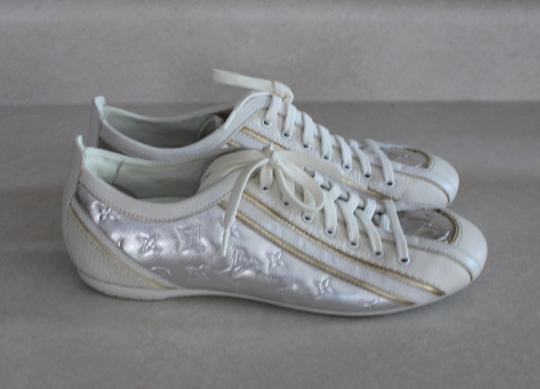 Louis Vuitton Leather Mirror Round Toe Lv Logo Monogram 36 6 Impulsion Sneaker Embellished Embossed Textured Silver, Gold, White Flats