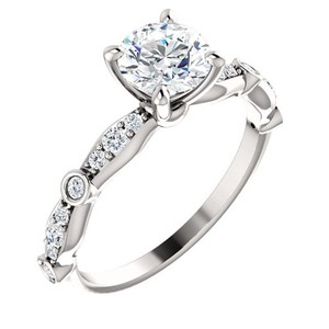1.65 Ct D/si1 Round Diamond Solitaire Engagement Ring 14 K White Gold