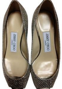 Jimmy Choo Glitter Sandal Peep Toe Low Champagne Wedges
