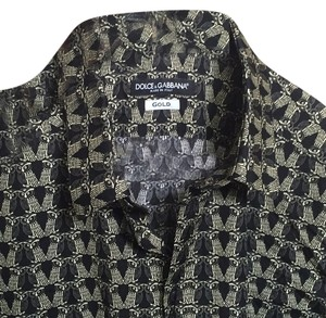 Dolce&Gabbana Button Down Shirt Black & gold
