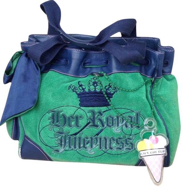 Item - Green and Navy Blue Terry Cloth Satin Tote