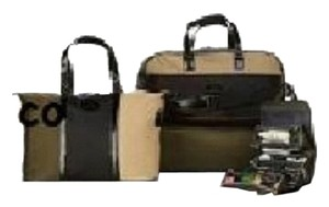 Joy Mangano Luxury Travelease Set Color Block Olive Green/Tan/Black Travel Bag