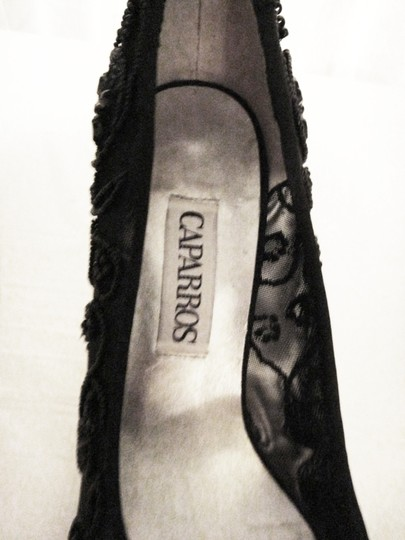 Caparros Beaded Formal Open-toe Black Pumps