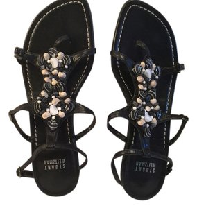 Stuart Weitzman Beach Shells Black Sandals