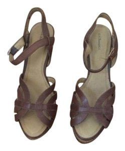 Bass Leather Heels Comfortable Platform Brown Sandals