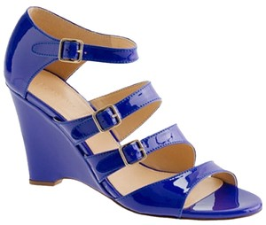 J.Crew Gwendolyn Patent Leather Violet Blue Sandals