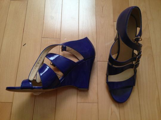 J.Crew Gwendolyn Patent Leather Wedges Heels Blue Cobalt Violet Wedge Violet Blue Sandals
