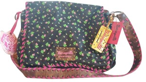 Betsey Johnson Black with fuschia and green flowers Diaper Bag
