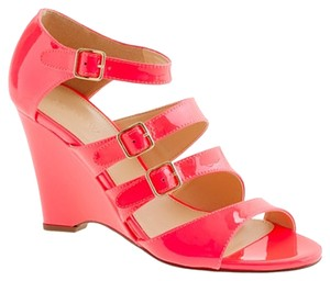 J.Crew Gwendolyn Patent Leather Wedge Persimmon Wedges Neon Orange Sandals