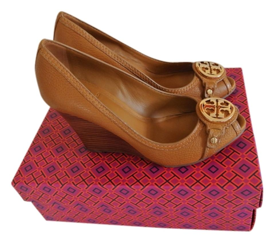 71fea011ce9 Tory Burch Tan Leticia 95mm Wedge-tumbled Leather Wedges Size US 8.5 ...