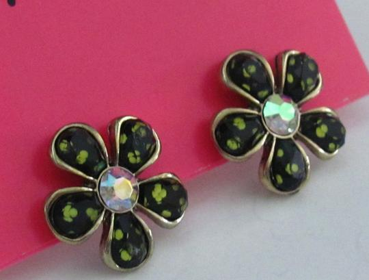 Betsey Johnson Betsey Johnson Little Black Daisy Post Earrings with Crystal Center - New on Original Card