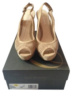 Enzo Angiolini Nude Perforated Heels Nude/Medium Natural Pumps