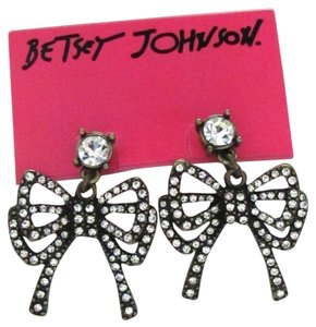 Betsey Johnson Betsey Johnson Crystal Bow Tie Drop Post Earrings