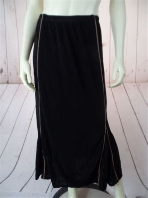 Other Citiknits Qvc 3x Long Acetate Spandex Stretch Slinky Knit Chic Skirt Black, Taupe Piping