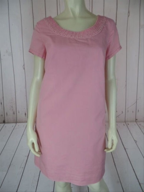 J.Crew short dress Dusty Pink Cotton Silk Blend Shift Braided Neckline Retro Chic on Tradesy