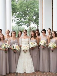 Jenny Yoo Mink Grey Tulle Annabelle Convertible Column Formal Bridesmaid/Mob Dress Size 2 (XS)