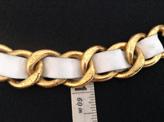 Chanel CHANEL '93P GOLD PLATED CHUNKY CHAIN LINK WHITE LEATHER BELT