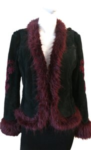 Wilsons Leather Vintage Embroidered Black Leather, Mauve embroidery and faux fur Jacket