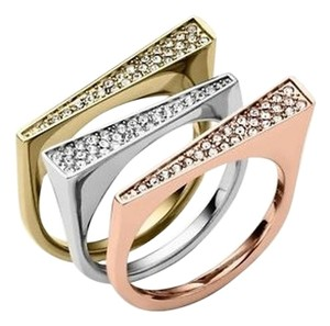 Michael Kors Michael Kors Ring Pave Tri Tone Stackable Brilliance Rings Size 7 MKJ3958 Crystal