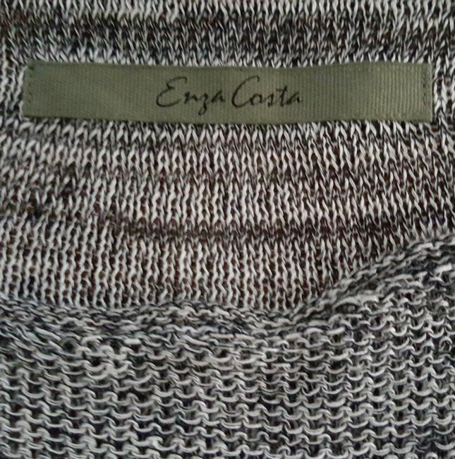 Enza Costa Loose Knit Designer Hand Made Grey Sweater