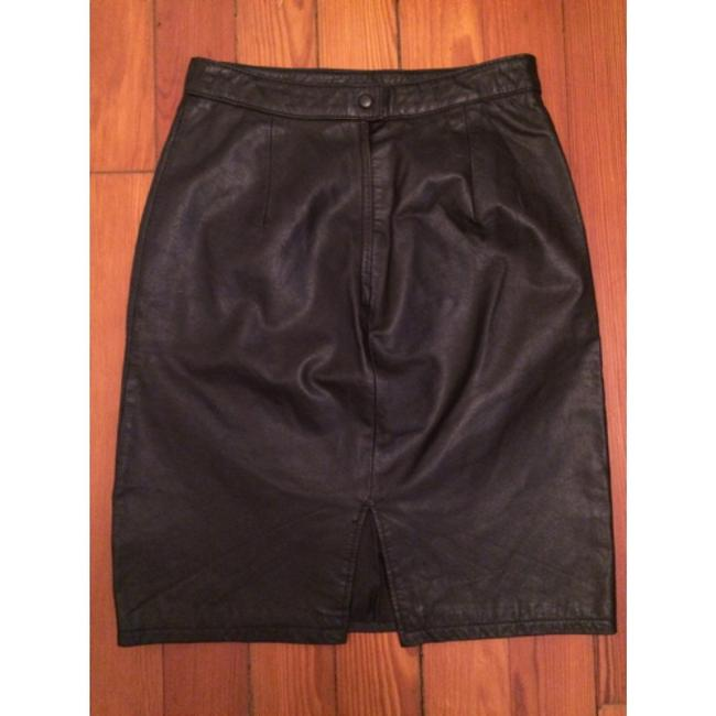 Pelle Cuir Leather Pencil Vintage Skirt Black