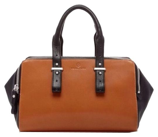 Trina Turk Leather Zippers Adjustable Satchel in Brown