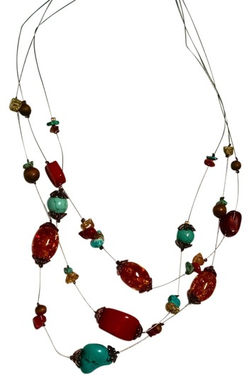 Macy's New Macy's Red Corral & Turquoise Gemstone Necklace J1249