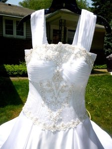 Diamond/Silk White Satin Abbott's Bridal Formal Wedding Dress Size 4 (S)